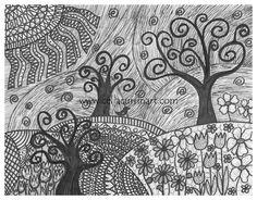 Field Of Doodles Fine Art PRINT 8 x 10 Black & White Doodle Art, Pen Art, Zentangle UNIQUE gift idea. $10.00, via Etsy.