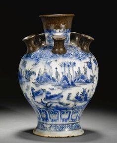 A safavid blue and white pottery tulip vase, Persia, 17th century