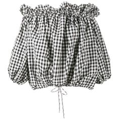 Marques'Almeida Gingham Off-Shoulder Blouse (8.870 CZK) ❤ liked on Polyvore featuring tops, blouses, shirts, black, long sleeve gingham shirt, long sleeve shirts, long sleeve tops, off shoulder long sleeve top and gingham shirt