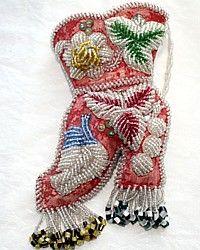 Antique Beaded Victorian Iroquois Boot Whimsy-Indian, Beadwork, Match, Scissors, pink,flower, floral, bird