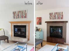 Remodeling a Gas Fireplace with Concrete and Wood