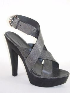 c5796ab2561 GUCCI Gray Textured Leather Platform Sandal Shoe 37.5 NIB  Gucci  Strappy  Shoes Sandals