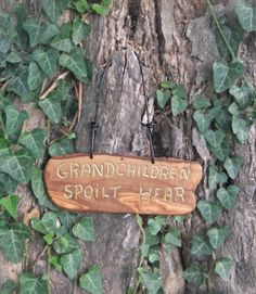 olive wood wall plaque  Grandchildren Spoilt by ellenisworkshop, $39.00 Wall Plaques, Grandchildren, Wood Wall, Special Gifts, Signs, Unique Jewelry, Handmade Gifts, Etsy, Vintage