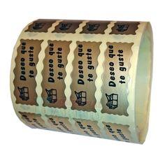 "Etiquetas para regalos ""Deseo que te guste"" Regalo. Papel oro, tinta negra. Rollo de 1000 Etiquetas."