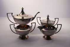 Vintage - Antique - Art Deco - Quadruple Plated - Forbes Silver Company - Tea Set - Tea Pot - Creamer - Sugar - Compote by Revendeur on Etsy