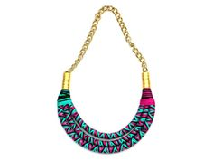 Statement rope necklace black emerald violet colored by BeataTe