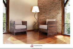 Solid wood Chair w/arm rests, Seat -- love these for the balcony