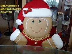 COMO HACER CUBRE SILLAS NAVIDEÑOS CON PATRONES Gingerbread Crafts, Snowman Crafts, Christmas Gingerbread, Christmas Snowman, Christmas Stockings, Christmas Crafts, Christmas Ornaments, Christmas Stuff, Christmas Decorations For The Home
