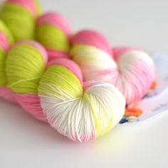 Pink Orchard - Hand Dyed Yarn - Sock Yarn - Pink and Chartreuse Green - Van Gogh by ToilandTrouble on Etsy https://www.etsy.com/listing/118728215/pink-orchard-hand-dyed-yarn-sock-yarn
