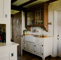 pretty cabinets with an antique-y finish