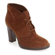 Women's Vince Camuto 'Lehanna' Bootie ($159) ❤ liked on Polyvore featuring shoes, boots, ankle booties, show down brown suede, short brown boots, short boots, brown ankle boots, ankle boots and brown booties