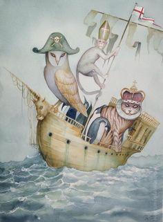 BIG Original Watercolour Painting The Owl and The Pussycat Dominic Murphy ART
