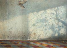 Fulvio Rinaldi, Interno azzurro - tempera, cm 70x50, 2008