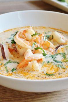 Best Shrimp Recipes, Seafood Recipes, Asian Recipes, Cooking Recipes, Healthy Recipes, Ethnic Recipes, Thai Cooking, Cooking Bacon, Thai Food Recipes