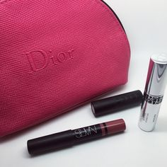 Sale Dior, Nars lipsticks and mascara with pouch Brand new. Dior makeup pouch with some best selling mascara and lipsticks from Sephora. Nars color: rikugien. Buxom color: sinful cinnamon Dior Makeup Lipstick