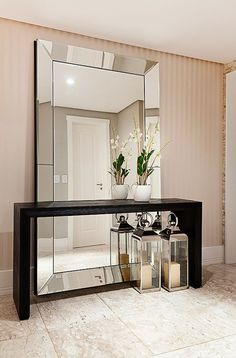 Awesome Large Wall Mirror Decor Ideas Decorating With Large Wall Mirrors Awesome Large Wall Mirror Decor Ideas. Wall mirrors can give a modern look and feel to any area when hung in strateg… Home Entrance Decor, Entryway Decor, Home Decor, Entryway Console, Entry Hallway, Contemporary Interior Design, Home Interior Design, Contemporary Hallway, Contemporary Chairs