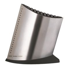 Ship Shape 10-Slot Knife Block Stainless Steel 71GKB52 For up to 9 knives (blade up to 24 cm) with space for sharpening steel or kitchen scissors.To order call 905·885·9250.