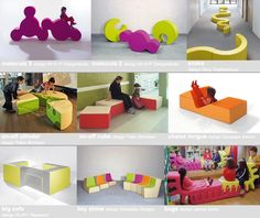 PLAY+ furnitures for children - transormable seating. Reggio furniture/play objects transforming spaces.