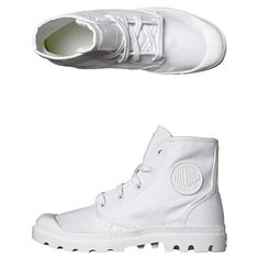 New Palladium Women's Pampa Hi Boot Cotton Canvas Womens Shoes White