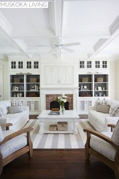 This is a  really nice fireplace wall. I like the way the insides of the shelving units and the doors of same are painted to not be so much white.Muskoka Living   Room   Fireplace
