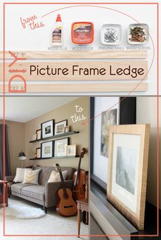 DIY Picture Frame Ledge Project Tutorial. Build your own display shelves for your home to add a stylish and organized look to any room.