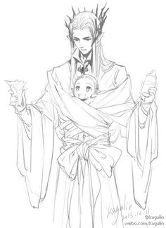Thranduil and baby Legolas