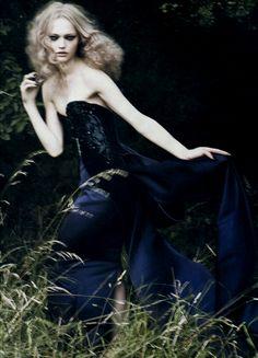 Sasha Pivovarova by Paolo Roversi for Vogue Italia in Giorgio Armani Privè