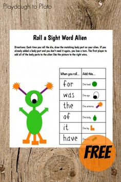 Free Sight Word Game. Such a fun way to teach kids sight words!! {Playdough to Plato}