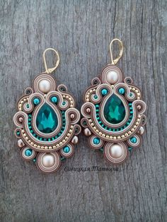 Bridal Beige Emerald Earrings - Statement Soutache Earrings - Hand Embroidered Soutache Jewelry - Be Emerald Earrings, Crystal Earrings, Beaded Earrings, Statement Earrings, Triangle Necklace, Geometric Necklace, Handmade Necklaces, Handmade Jewelry, Soutache Necklace