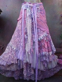 Bohemian Skirt, Gypsy Skirt, Boho Skirts, Wrap Skirts, Skirt Fashion, Boho Fashion, Fashion Design, Gothic Fashion, Gypsy Style