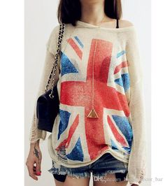 Discount New Arrivals Womens Ladies Clothing Knit Union Jack Flag Distressed Thin Casual Styles Jumper Pullover Top Sweaters Dx92 From China | Dhgate.Com