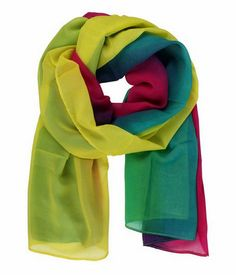 This soft chiffon scarf has bright and eye popping color plus it's suitable for use all year round.  It's trendy and stylish in Yellow, Pink & Blue.