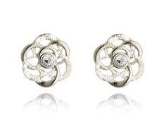 Rhodium Plated Clear Crystal Flower Stud Earrings Butterfly Queens' Jewelry #QueensJewelry #Stud