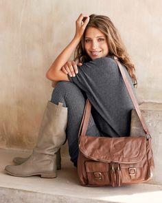 Leather Shoulder Bag-Brown