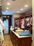Washer and dryer in the walk-in closet with island! Perfect for if we decide to share a closet in the master. Master Closet Design, Master Bedroom Closet, Bathroom Closet, Bedroom Closets, Bedrooms, Master Suite, Master Room, Bathroom Laundry, Master Plan