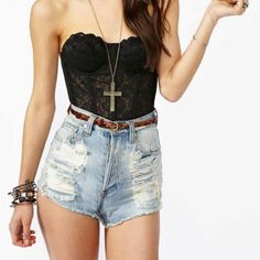 bustier and high waisted shorts!