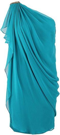 One Shoulder Drape Dress - Lyst