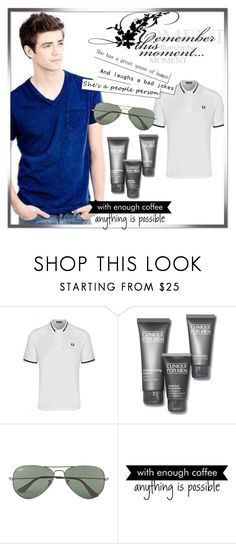 """""""Josh Hughes"""" by stayoriginaldarlings ❤ liked on Polyvore featuring Fred Perry, Clinique, Ray-Ban, WALL, men's fashion and menswear"""