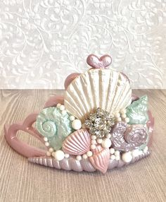 Your place to buy and sell all things handmade Mermaid Headpiece, Mermaid Crown, Mermaid Party Decorations, Mermaid Parties, Seashell Cupcakes, Fondant Crown, Baby Christening Dress, Tiara Cake, Shell Crowns