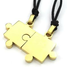 Amazon.com: KONOV Jewelry 2pcs Mens & Womens Couples Stainless Steel Puzzle Pendant Love Necklace Set, Gold: KONOV Jewelry: Jewelry