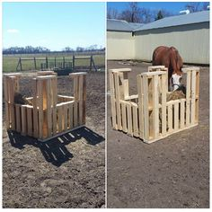 pallet turned into hay holder