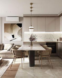 Kitchen Room Design, Living Room Kitchen, Dining Room Design, Kitchen Interior, Kitchen Decor, Contemporary Kitchen Design, Minimalist Interior, Küchen Design, Interiores Design