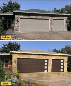 New garage doors from Clopay's Modern Steel Collection give this 90s ranch instant contemporary curb appeal. Installed by Best Overhead Door in Oregon. www.clopaydoor.com
