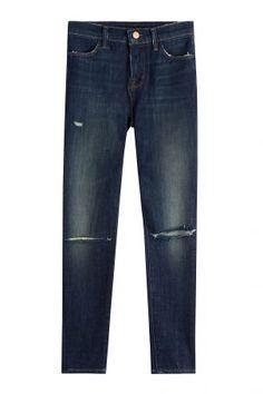 J Brand J Brand Cropped-Skinny-Jeans im Distressed-Look – Blau
