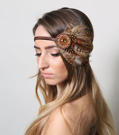 Large Tribal Feather Beaded Bohemian Headband - gypsy, hippie, warrior, black, rust, brown on Etsy, $30.00