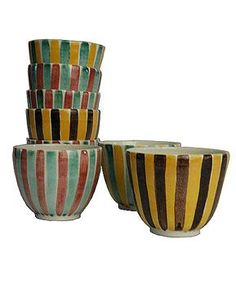 1950s Swiss Studio Pottery Bistro Coffee / Tea Cups :: Quintessentia