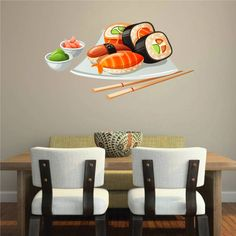 """cik1055 Full Color Wall decal fish sauce sushi restaurant Japanese snack food. Size up to 28x45""""!!! Vinyl wall decals are one of the latest trends in home decor. Vinyl wall decals give the look of a hand-painted quote, saying or image without the cost, time, and permanent paint on your wall. They are easy to apply and can be easily removed without damaging your walls. Vinyl wall decals can be applied to walls, doors, windows, cars, or any other solid,smooth or semi-textured surface…"""