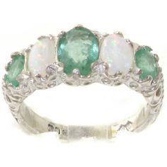 925 Sterling Silver Natural Emerald and Opal Womens Band Ring  Sizes 4 to 12 Available *** Want to know more, click on the image.