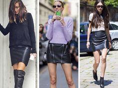 A saia de couro é peça-chave de um look preto total para o frio e fica linda com uma blusinha levinha no verão (Foto: REPRODUÇÃO INSTAGRAM CHRONICLES OF HER, STYLE DU MONDE)