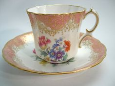 Antique Hammersley Tea Cup And Saucer Pink by AntiqueAndCrafts